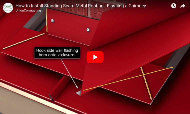 how to flash a masonry chimney into a metal roof protradecraft - Metal Roof Flashing