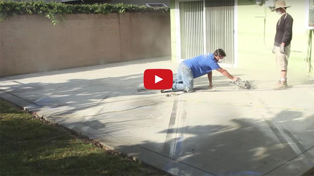 Cut A Diamond Pattern In A Concrete Patio Using A Diamond