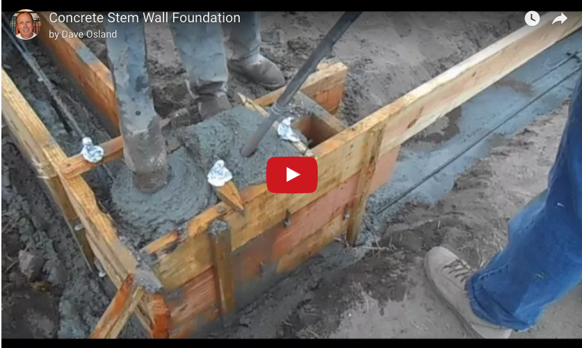 Placing A Stem Wall And Footing In A Single Pour In