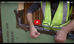 Video of a man showing how to apply ZIP System tape for sill pan flashing