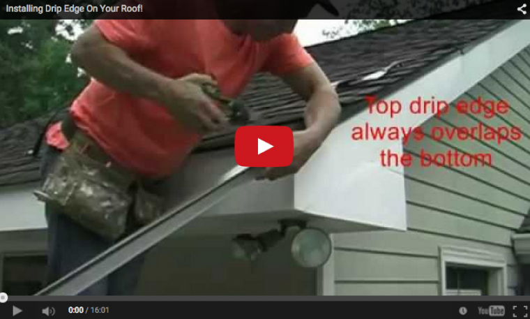 Video of a man showing how to perform drip edge installation