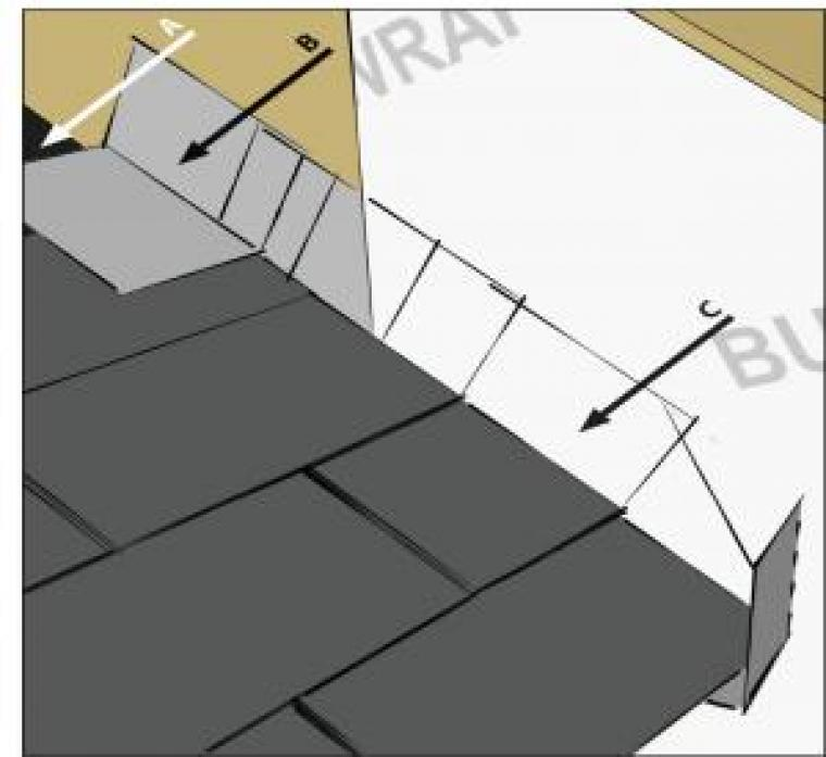 Graphic indicating how roof felt, step and kickout flashing, and roofing shingles should be installed